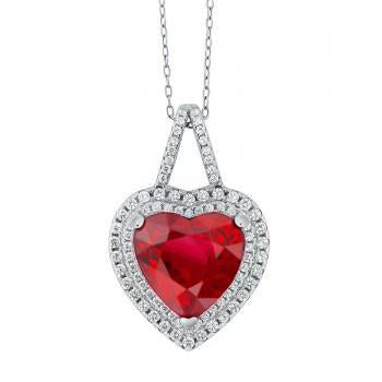 2.85 Carats Heart Cut Red Ruby With Diamond Pendant Gold Jewelry Gemstone Pendant