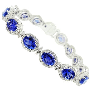 29 Carats Tanzanite And Diamonds Women Bracelet White Gold 14K Gemstone Bracelet