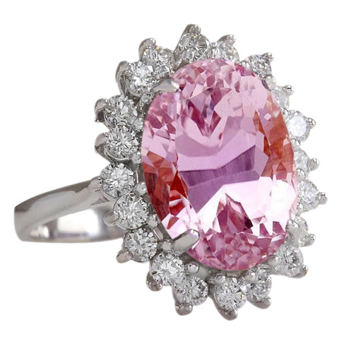 29.25 Carats Oval Kunzite And Round Diamonds Ring 14K White Gold New