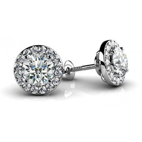 2.90 Carats Diamond Ladies Studs Halo Earrings White Gold 14K Halo Stud Earrings