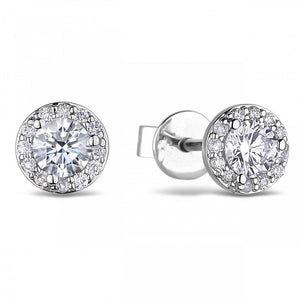 2.90 Carats Round Diamond Stud Halo Earring Women Fine Jewelry Halo Stud Earrings