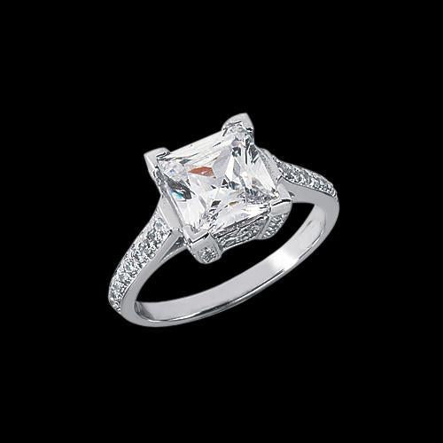 2.91 Carat Princess Diamond Ring Solitaire With Accents Pave Diamonds Solitaire Ring with Accents