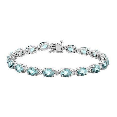 29.50 Carats Aquamarine And Diamonds Bracelet 14K White Gold New Gemstone Bracelet