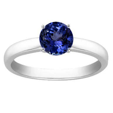 2 Carat Solid 14K White Gold Tanzanite Solitaire Ring New