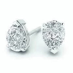 2 Carats Pear Cut Diamond Studs Earring White Gold Women Jewelry