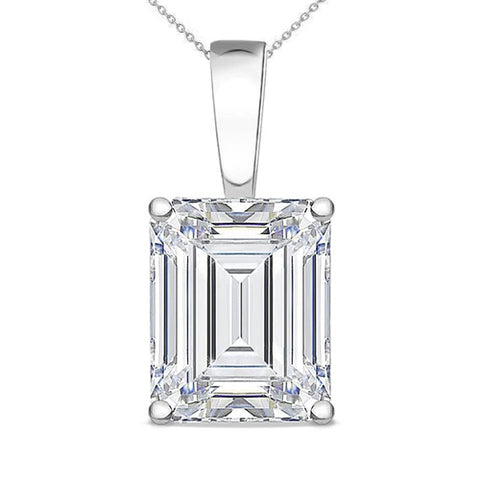 2 Ct Prong Set Emerald Cut Diamond Solitaire Pendant White Gold