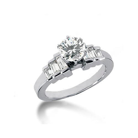3 Carat Diamonds Engagement Ring Baguette Diamonds Solitaire Ring with Accents