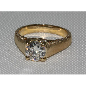 3 Carat Diamonds Finish Micro Pave Ring Yellow Gold New Solitaire Ring