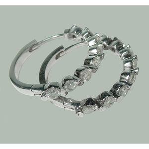 3 Carat Diamonds Huggy Hoop Earring White Gold Women Jewelry Hoop Earrings