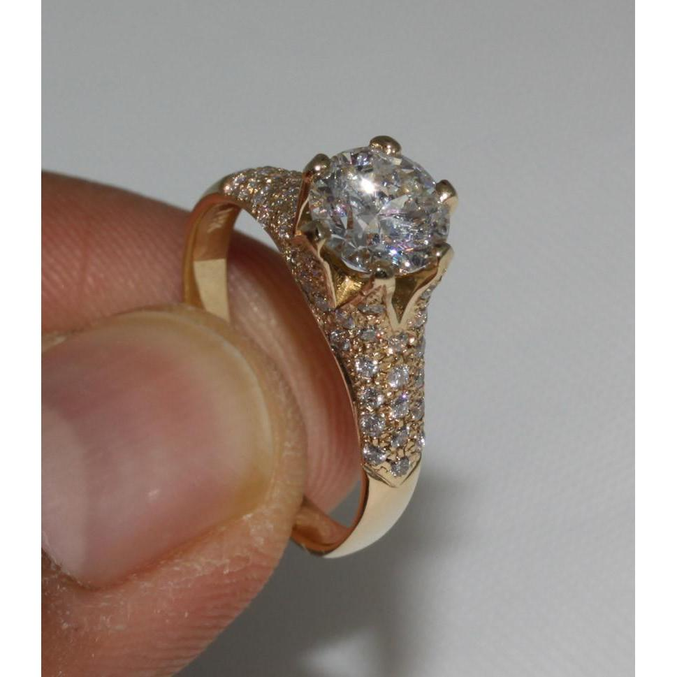 3 Carat Diamond Yellow Gold Ring Solitaire With Accents Harrychadent Com