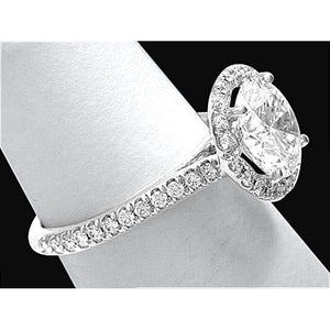 3 Carat F Vs1 Halo Diamond Ring White Gold 14K Engagement Ring Halo Ring