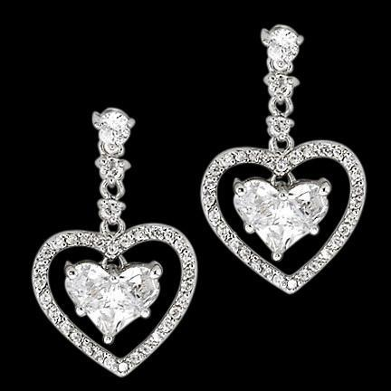 3 Carat Heart Diamond Earrings Heart Style Dangle Earring White Gold Dangle Earrings