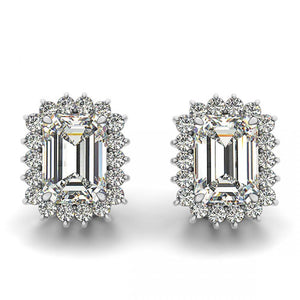 3 Carat Prong Set Emerald Halo Diamond Stud Earring White Gold Halo Stud Earrings