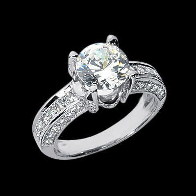 3 Carat Round Brilliant Diamonds Solitaire Ring With Accents Solid White Gold 14K Solitaire Ring with Accents