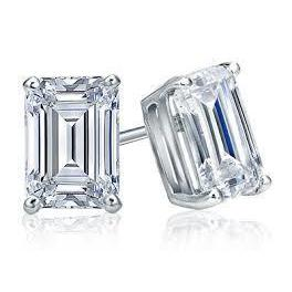 3 Carats 14K White Gold Emerald Cut Diamond Women Stud Earring Stud Earrings