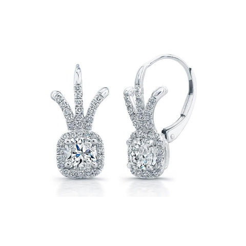 3 Carats Cushion And Round Diamond Drop Earring Solid White Gold 14K Drop Earrings