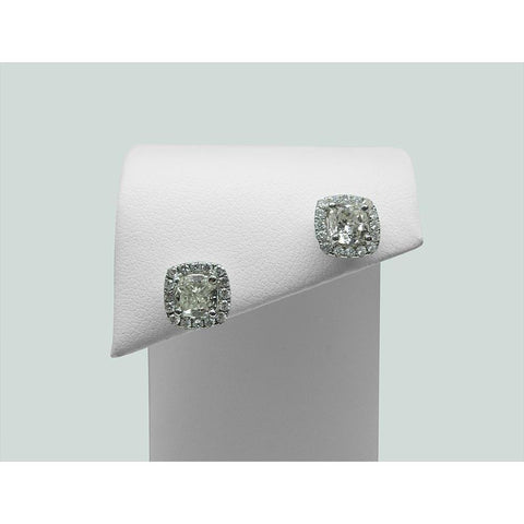 3 Carats Cushion Cut Halo Diamond Stud Earring Lady White Gold Jewelry Halo Stud Earrings