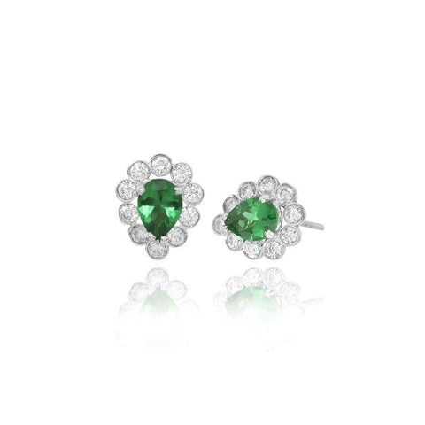 3 Carats Diamond With Emerald Stud Halo Ear Ring Women Gold Jewelry Studs- Halo