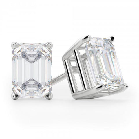 3 Carats Emerald Cut Diamond Women Studs Earring Pair White Gold Stud Earrings