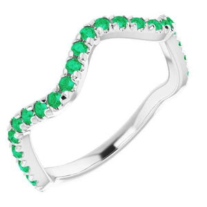 3 Carats Freeform Shank Ring Green Emerald Stones White Gold 14K Gemstone Ring