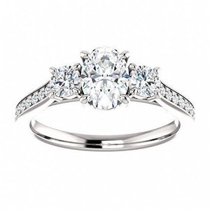 3 Carats Oval With Round Diamond 3-Stone Ring White Gold 14K Ring