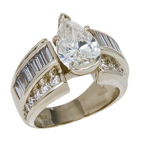 3 Carats Pear Cut Center Diamond Wedding Ring White Gold Fine Jewelry Anniversary Ring