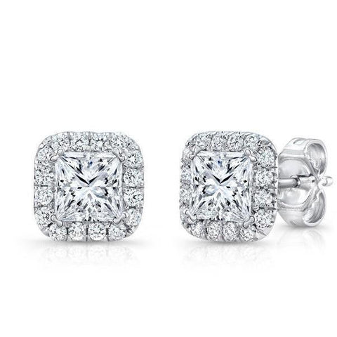 3 Carats Princess And Round Halo Diamond Stud Earring White Gold 14K Halo Stud Earrings