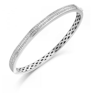 3 Carats Princess Small Diamonds Women Bangle Bracelet White Gold Bangle