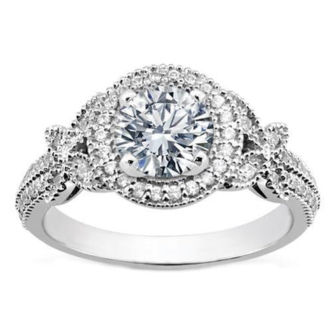 3 Carats Round Cut Halo Diamond Vintage Style Ladies Ring White Gold Halo Ring