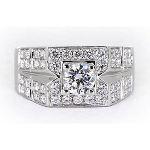 3 Carats Round Diamond Anniversary Mens Ring White Gold 14K Mens Ring
