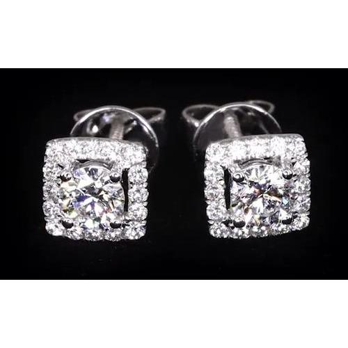3 Carats Round Diamond Halo Setting Stud Earring White Gold 14K Halo Stud Earrings
