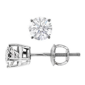 3 Carats Solitaire Prong Setting Round Diamond Stud Earring Gold Jewelry Stud Earrings