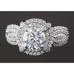 3 Carats Vintage Look Anniversary Ring Round Diamond Anniversary Ring