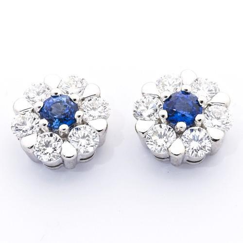 3 Ct Ceylon Sapphire And Diamond Cluster Earring White Gold 14K Gemstone Earring
