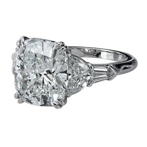 3 Ct Cushion Cut Half Moons Baguette Diamond Ring Excellent Cut 18K Engagement Ring