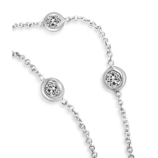 "3 Ct Diamonds By Yard Necklace Bezel White Gold 14K 18"" Inch Chain Chains Necklace"