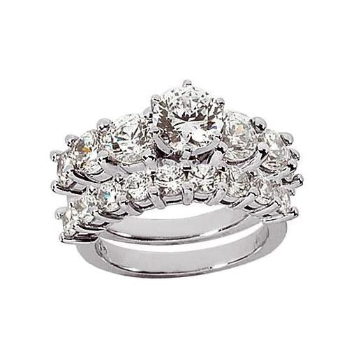 3 Ct. F Vvs1 Diamonds Royal Engagement Ring Solitaire With Accents Band Set Gold Engagement Ring Set