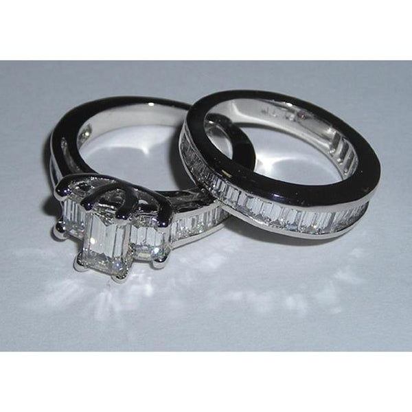 3 Ct. G Vs1 Emerald Cut & Baguettes Cut Diamond Ring Wg Three Stone Engagement Ring Set