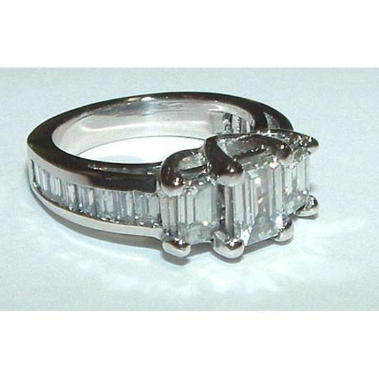 3 Ct. G Vs1 Emerald Cut & Baguettes Cut Three Stone Diamond Ring White Gold Three Stone Ring