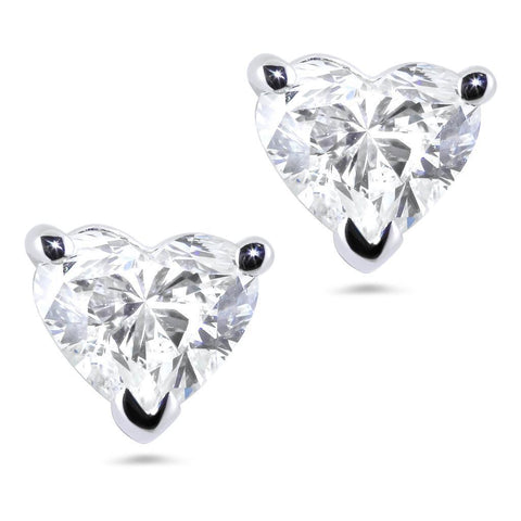 3 Ct. Heart Cut Diamond Stud Earring Prong Setting White Gold Stud Earrings