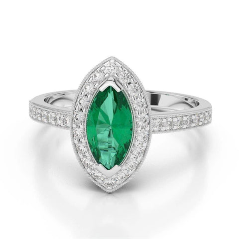3 Ct Marquise Shaped Green Emerald And Diamond Wedding Ring White Gold 14K Gemstone Ring