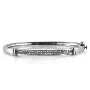 3 Ct Princess Cut Diamond Bangle 14K White Gold Bangle