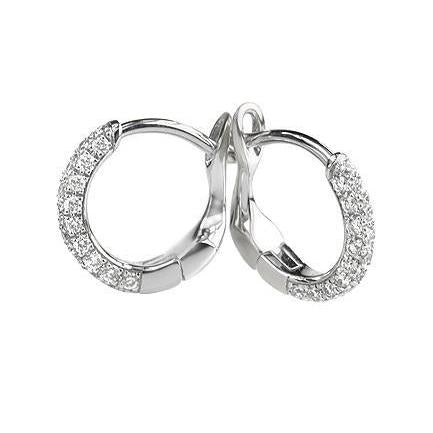 3 Ct Round Cut Diamond Hoop Earring 14K White Gold Hoop Earrings