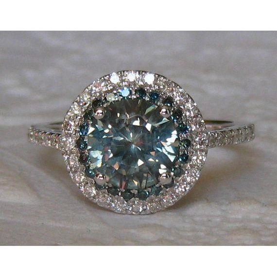 3 Ct Round Cut Green Sapphire Diamond Wedding Ring 14K White Gold Gemstone Ring