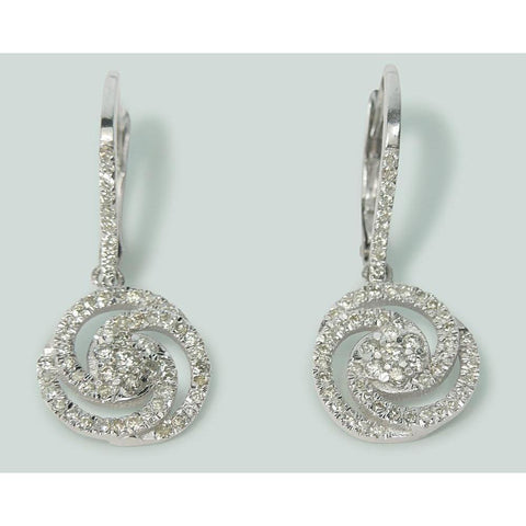 3 Ct Round Diamond Circle Drop Dangle Earring 14K White Gold Dangle Earrings