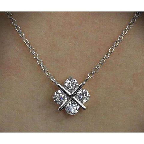 3 Ct Round Diamond Cross Style Lady Necklace Pendant White Gold 14K Pendant