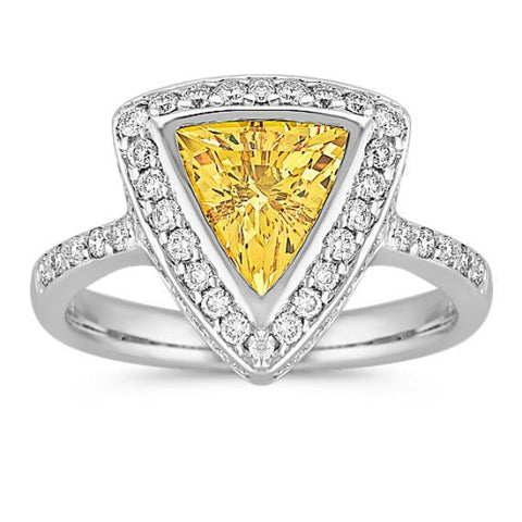 3 Ct Trillion Cut Yellow Sapphire And Round Diamonds Ring White Gold Gemstone Ring
