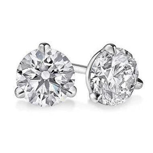 3 Prong Set Round Diamond  1 Ct Solitaire Stud Women Earring White Gold 14K Stud Earrings