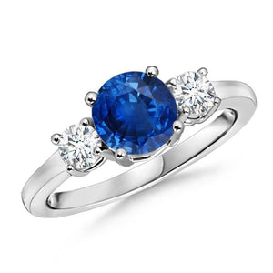 3 Stone 2.70 Carats Sapphire And Diamonds Wedding Ring White Gold 14K Gemstone Ring