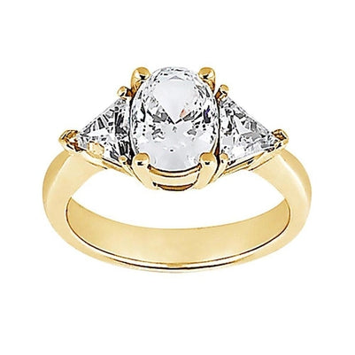 3 Stone 2.71 Ct. Ring New Big Diamonds Yellow Gold Fancy Ring Three Stone Ring